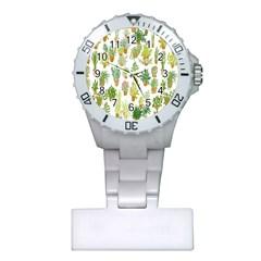 Flowers Pattern Plastic Nurses Watch