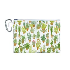 Flowers Pattern Canvas Cosmetic Bag (M)