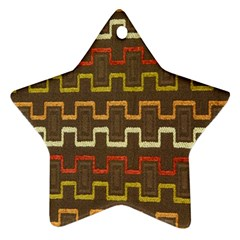 Fabric Texture Vintage Retro 70s Zig Zag Pattern Ornament (Star)