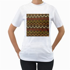 Fabric Texture Vintage Retro 70s Zig Zag Pattern Women s T-Shirt (White) (Two Sided)