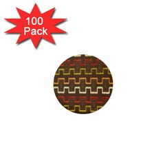 Fabric Texture Vintage Retro 70s Zig Zag Pattern 1  Mini Buttons (100 pack)