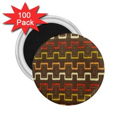 Fabric Texture Vintage Retro 70s Zig Zag Pattern 2.25  Magnets (100 pack)