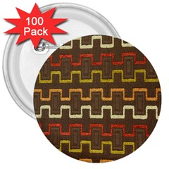 Fabric Texture Vintage Retro 70s Zig Zag Pattern 3  Buttons (100 Pack)