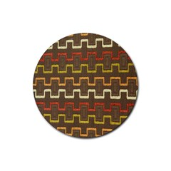 Fabric Texture Vintage Retro 70s Zig Zag Pattern Rubber Round Coaster (4 Pack)