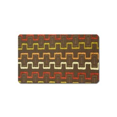 Fabric Texture Vintage Retro 70s Zig Zag Pattern Magnet (Name Card)