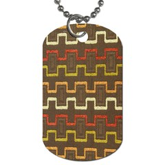 Fabric Texture Vintage Retro 70s Zig Zag Pattern Dog Tag (One Side)