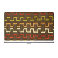 Fabric Texture Vintage Retro 70s Zig Zag Pattern Business Card Holders