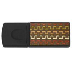 Fabric Texture Vintage Retro 70s Zig Zag Pattern USB Flash Drive Rectangular (2 GB)