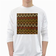 Fabric Texture Vintage Retro 70s Zig Zag Pattern White Long Sleeve T-Shirts