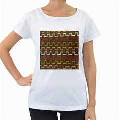 Fabric Texture Vintage Retro 70s Zig Zag Pattern Women s Loose-Fit T-Shirt (White)