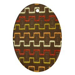 Fabric Texture Vintage Retro 70s Zig Zag Pattern Oval Ornament (Two Sides)