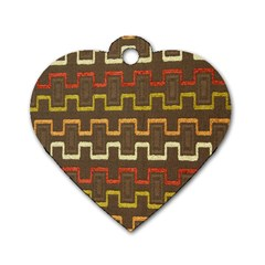 Fabric Texture Vintage Retro 70s Zig Zag Pattern Dog Tag Heart (Two Sides)