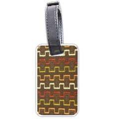 Fabric Texture Vintage Retro 70s Zig Zag Pattern Luggage Tags (one Side)