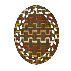 Fabric Texture Vintage Retro 70s Zig Zag Pattern Ornament (Oval Filigree)