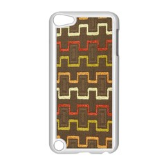 Fabric Texture Vintage Retro 70s Zig Zag Pattern Apple iPod Touch 5 Case (White)