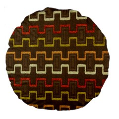 Fabric Texture Vintage Retro 70s Zig Zag Pattern Large 18  Premium Round Cushions