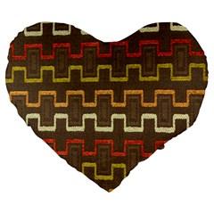 Fabric Texture Vintage Retro 70s Zig Zag Pattern Large 19  Premium Heart Shape Cushions