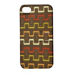 Fabric Texture Vintage Retro 70s Zig Zag Pattern Apple iPhone 4/4S Hardshell Case with Stand