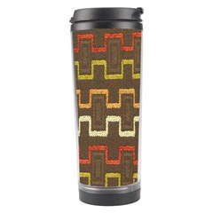 Fabric Texture Vintage Retro 70s Zig Zag Pattern Travel Tumbler