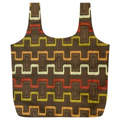 Fabric Texture Vintage Retro 70s Zig Zag Pattern Full Print Recycle Bags (L)