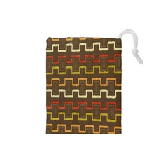 Fabric Texture Vintage Retro 70s Zig Zag Pattern Drawstring Pouches (Small)