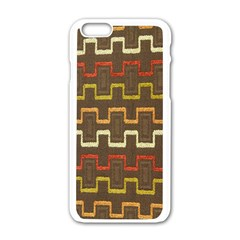 Fabric Texture Vintage Retro 70s Zig Zag Pattern Apple Iphone 6/6s White Enamel Case