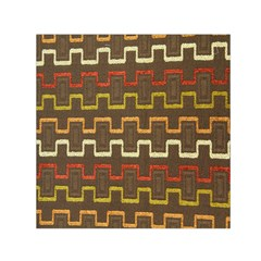 Fabric Texture Vintage Retro 70s Zig Zag Pattern Small Satin Scarf (Square)