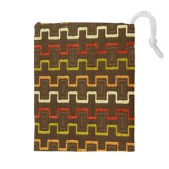Fabric Texture Vintage Retro 70s Zig Zag Pattern Drawstring Pouches (Extra Large)