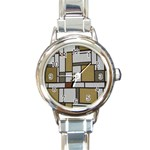 Fabric Textures Fabric Texture Vintage Blocks Rectangle Pattern Round Italian Charm Watch Front
