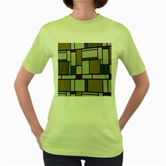 Fabric Textures Fabric Texture Vintage Blocks Rectangle Pattern Women s Green T Shirt