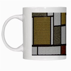 Fabric Textures Fabric Texture Vintage Blocks Rectangle Pattern White Mugs