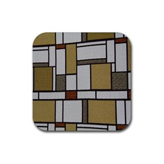 Fabric Textures Fabric Texture Vintage Blocks Rectangle Pattern Rubber Square Coaster (4 pack)