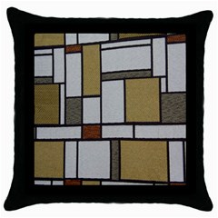 Fabric Textures Fabric Texture Vintage Blocks Rectangle Pattern Throw Pillow Case (Black)