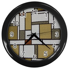 Fabric Textures Fabric Texture Vintage Blocks Rectangle Pattern Wall Clocks (Black)