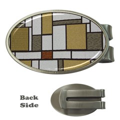 Fabric Textures Fabric Texture Vintage Blocks Rectangle Pattern Money Clips (Oval)