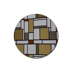 Fabric Textures Fabric Texture Vintage Blocks Rectangle Pattern Rubber Round Coaster (4 Pack)