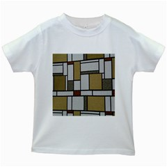 Fabric Textures Fabric Texture Vintage Blocks Rectangle Pattern Kids White T-Shirts