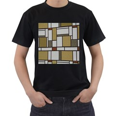 Fabric Textures Fabric Texture Vintage Blocks Rectangle Pattern Men s T-Shirt (Black) (Two Sided)