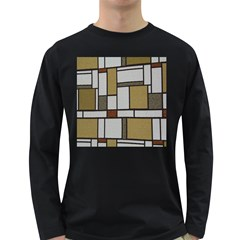 Fabric Textures Fabric Texture Vintage Blocks Rectangle Pattern Long Sleeve Dark T Shirts