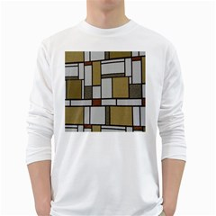 Fabric Textures Fabric Texture Vintage Blocks Rectangle Pattern White Long Sleeve T Shirts