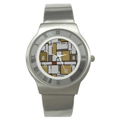 Fabric Textures Fabric Texture Vintage Blocks Rectangle Pattern Stainless Steel Watch