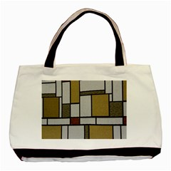 Fabric Textures Fabric Texture Vintage Blocks Rectangle Pattern Basic Tote Bag (Two Sides)