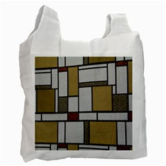 Fabric Textures Fabric Texture Vintage Blocks Rectangle Pattern Recycle Bag (One Side)