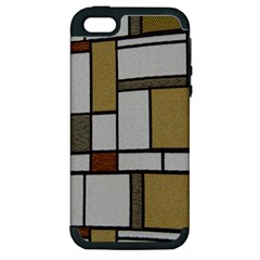 Fabric Textures Fabric Texture Vintage Blocks Rectangle Pattern Apple Iphone 5 Hardshell Case (pc+silicone)
