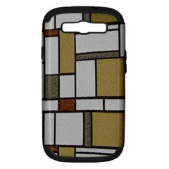 Fabric Textures Fabric Texture Vintage Blocks Rectangle Pattern Samsung Galaxy S III Hardshell Case (PC+Silicone)