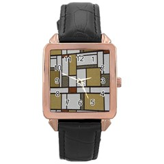 Fabric Textures Fabric Texture Vintage Blocks Rectangle Pattern Rose Gold Leather Watch
