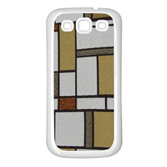 Fabric Textures Fabric Texture Vintage Blocks Rectangle Pattern Samsung Galaxy S3 Back Case (White)