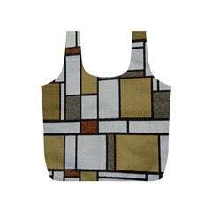 Fabric Textures Fabric Texture Vintage Blocks Rectangle Pattern Full Print Recycle Bags (S)
