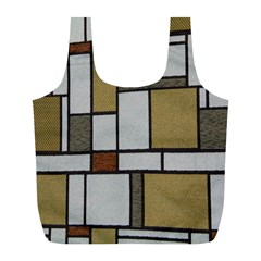 Fabric Textures Fabric Texture Vintage Blocks Rectangle Pattern Full Print Recycle Bags (L)