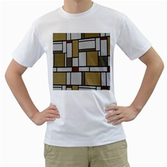 Fabric Textures Fabric Texture Vintage Blocks Rectangle Pattern Men s T-Shirt (White)